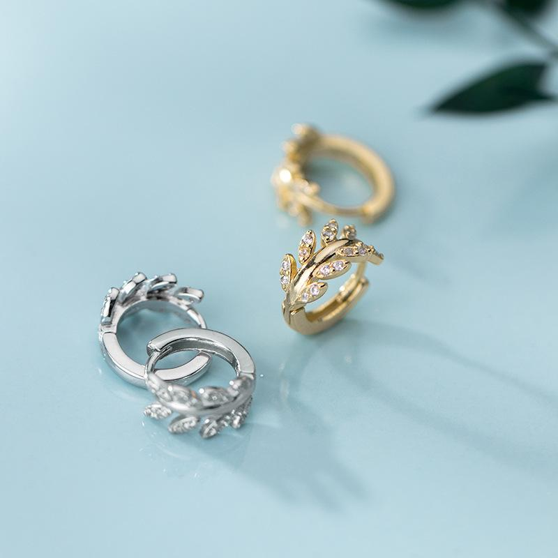 New 925 Sterling Silber Schnalle Korean edlen Schmuck einfaches kleines Blatt mini Huggie empfindliche kleine Reifen für Frauen Hochzeit Ohrring