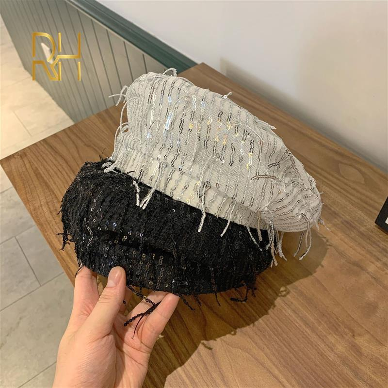 2020 donne eleganti plaid Beret For Fashion frange paillettes Beret Pittore Cappello Gorras RH Cappelli Cap Primavera Autunno Brand New delle donne