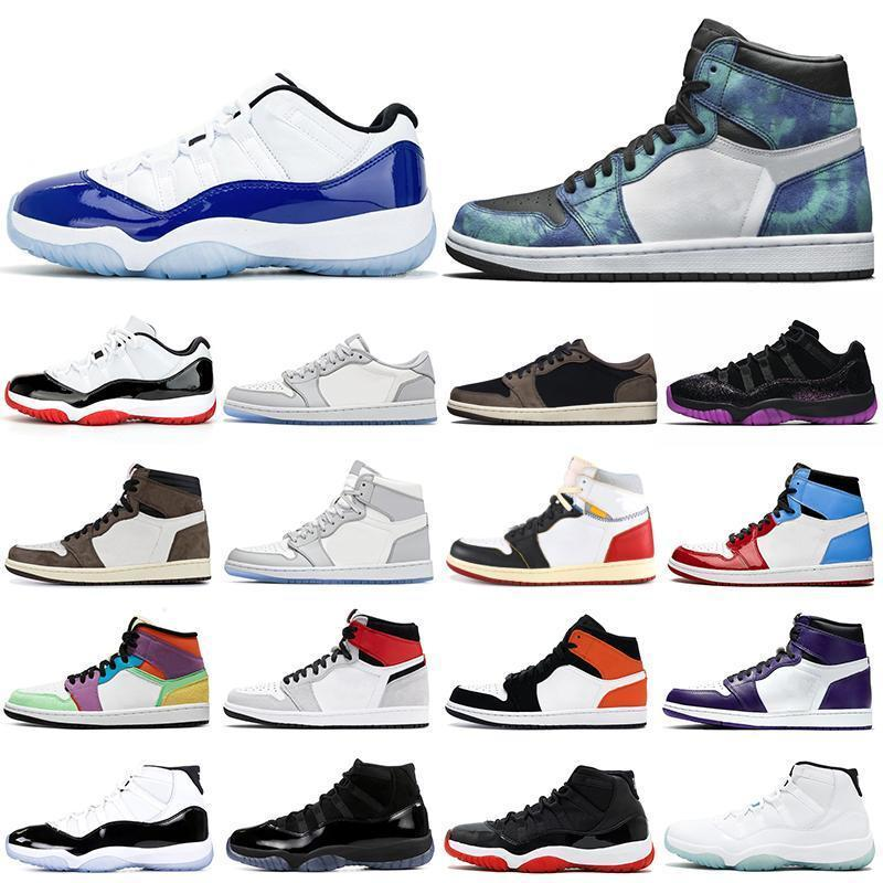 zapatos de baloncesto 11s 1s del tinte del lazo de humo gris Unión 1 Cap Concordia y vestido de criada para mujer para hombre 11 entrenadores al aire libre las zapatillas de deporte