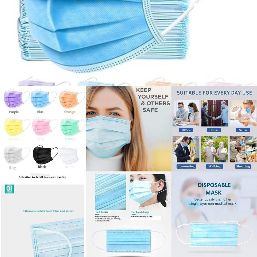200 piezas multicolores desechables Face - Anti-polvo 3 capas de purificar Extende máscara colorida 50pcs / caja transpirable OJP4