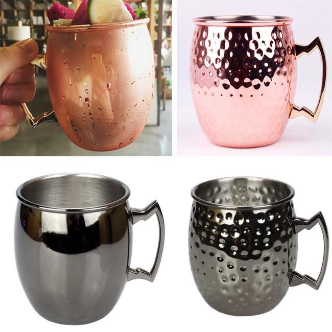 Кубок 530ML Медь Чашка из нержавеющей стали Пиво покрыло розового золото Москвы коктейль Drinkware Cup подарок Xmas HH7-912
