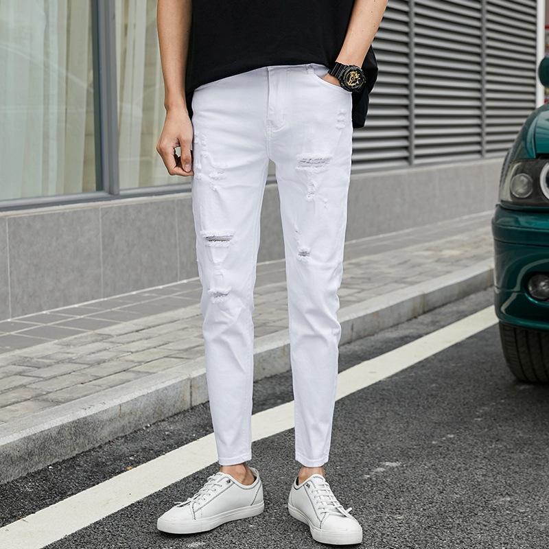 FZRg0 хлопок белых мужских брюк брюки джинсов Корейских джинсы середины талия стрейч тонкие мужчины 2020 весной и летом молодежь долго и y1Wvw