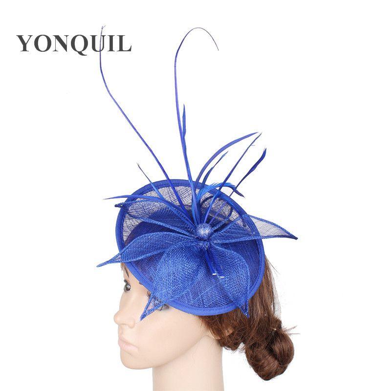 Real Fascinator del sombrero azul de la moda señoras magníficas casquillo del sombrero de ala formales para la cena partido headwear damas pin sombreros