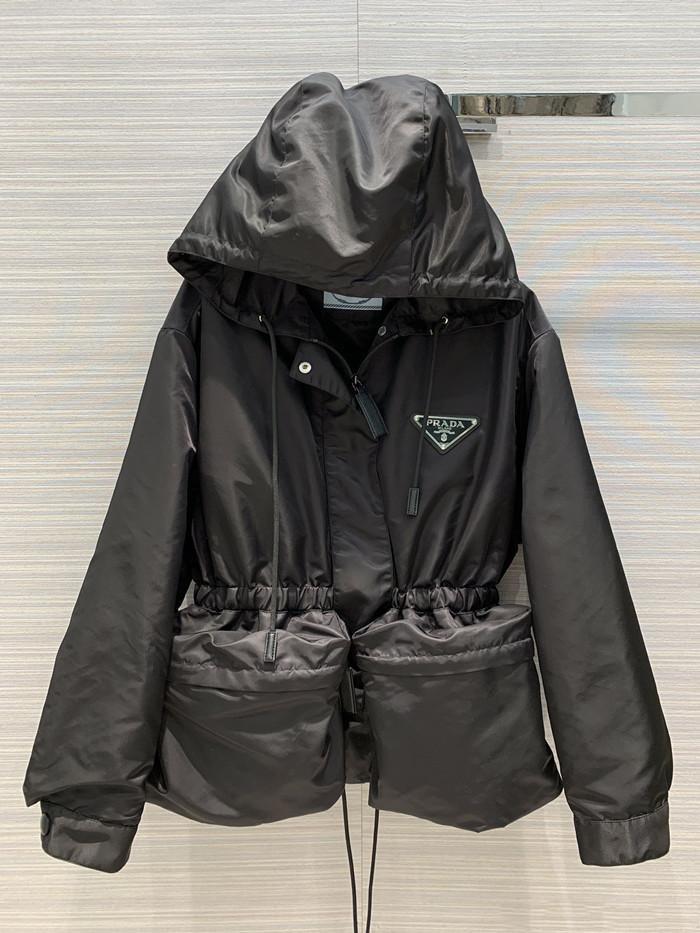 Top-Qualität Milan Runway Jacke mit Kapuze Langarm Panelled Marke Same Stil Trench Coats Frauen Designer Mäntel