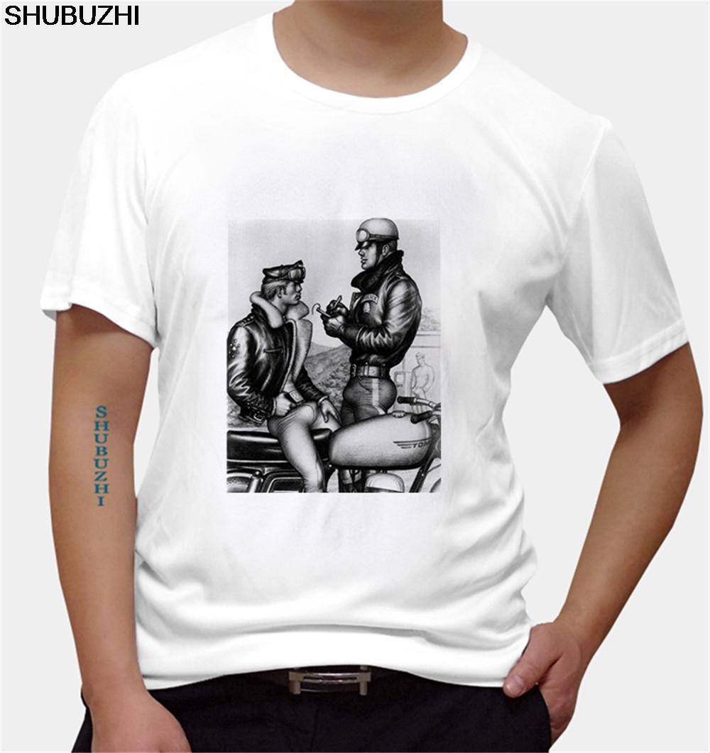 Verano Hombres Ropa Meganho Diseño Bob Mizer Tom of Finland hombre de la camiseta del O Cuello tamaño euro
