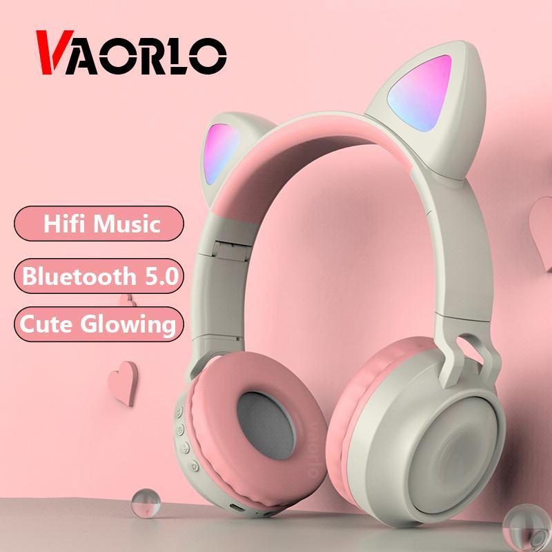 VAORLO سماعة رأس لاسلكية HIFI الموسيقى أزياء لطيف فتاة بلوتوث 5.0 سماعة طوي الذكية الغاء الضوضاء الوهج سماعة الأطفال