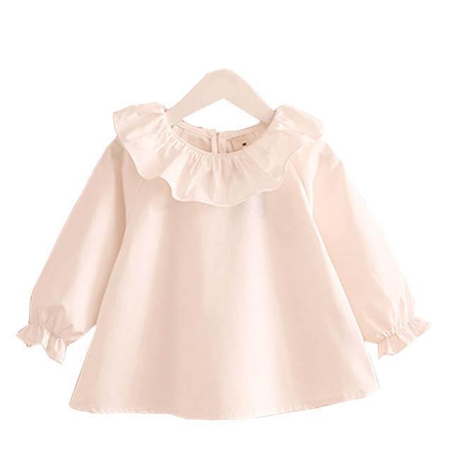 Niña camisas primavera colmena de la manera del cuello del bebé Blusa de manga larga Tops lindo coreano ropa para niños Edad 1 2 4 6 8 T