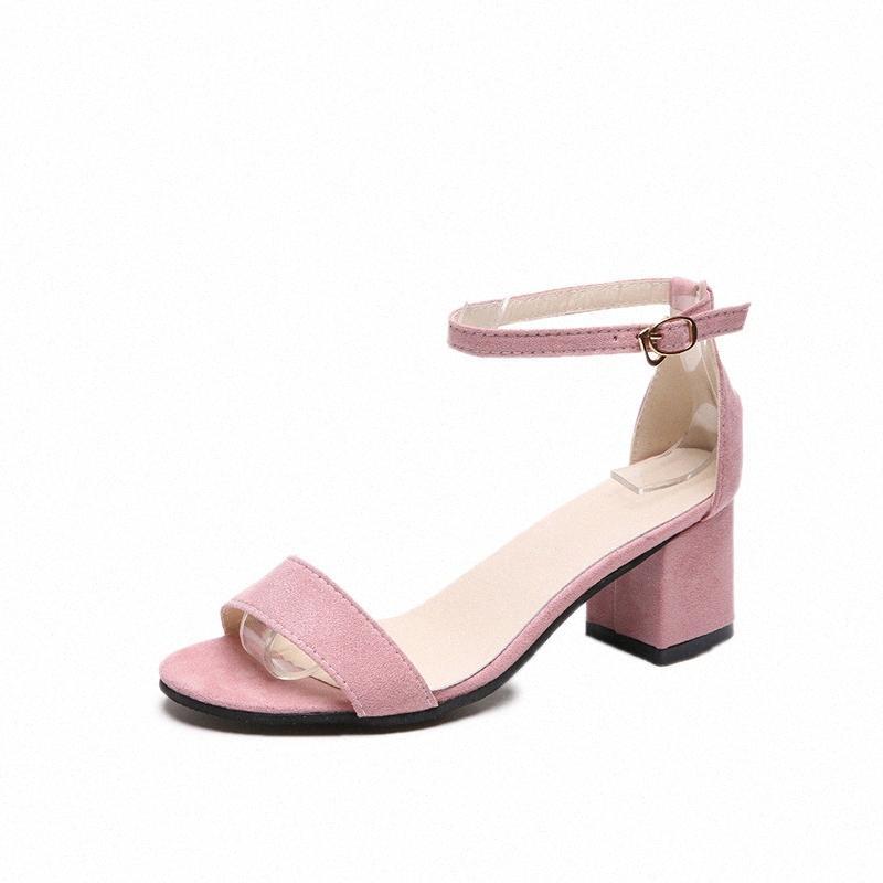 New 2020 boucle cheville talons femmes Sandales d'été Femmes Chaussures ouvertes devant Chunky hauts talons robe de soirée Gladiator Sandales Taille 40 glGW #