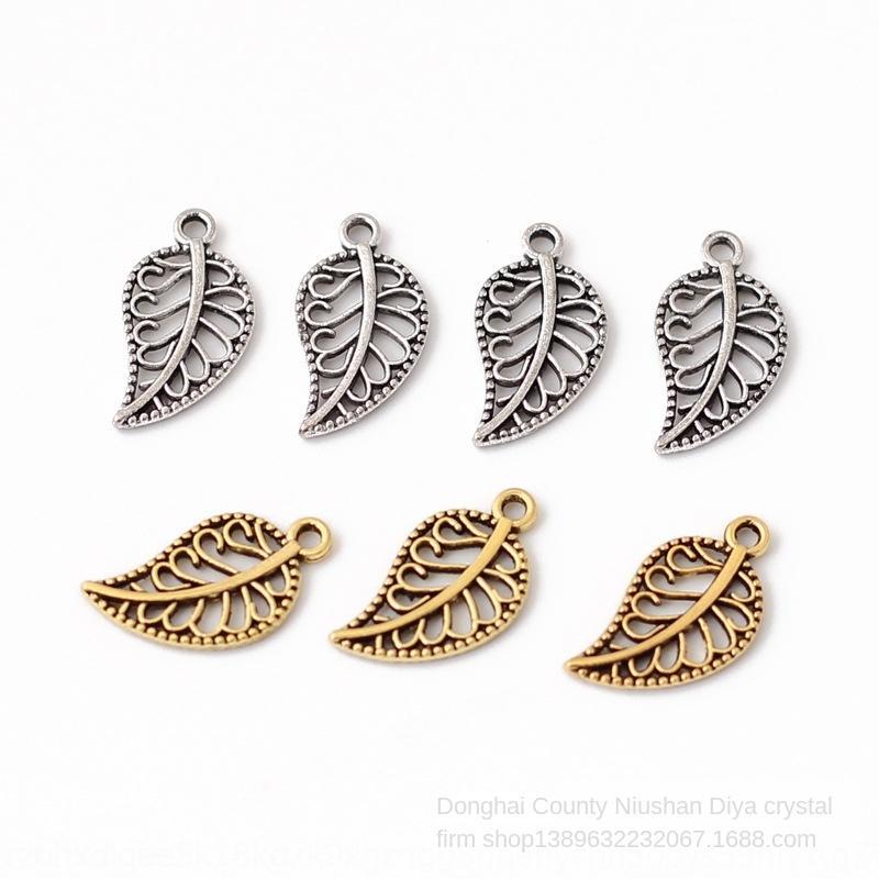 accessori fai da te 8TUy7 tibetano foro per appendere cava antichi foglie d'albero d'argento di Miao argento fatti a mano in stile etnico fai da te perline perline ciondolo pend