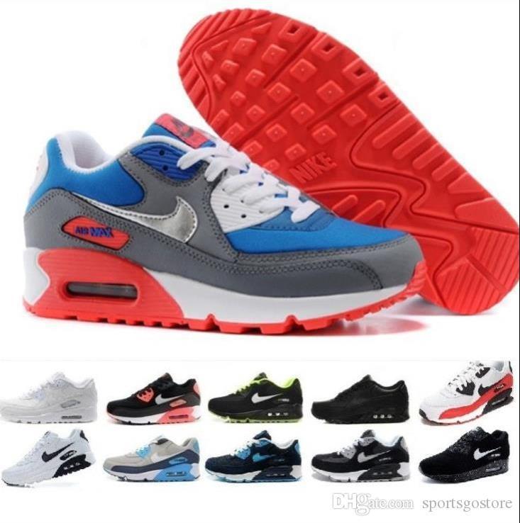 Delle donne degli uomini scarpe classiche 90 Uomini e donne scarpe da corsa Nero Rosso Bianco Sport Trainer cuscino d'aria di superficie scarpe traspiranti Sport 36-46