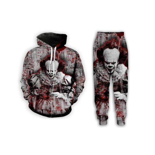 Neue Männer / Frauen Horror-Film IT Kapitel Zwei lustige 3D-Druck-Art- und Tracksuits Crewneck Hip Hop-Sweatshirts und Hosen 2 PC stellten Hoodies P06