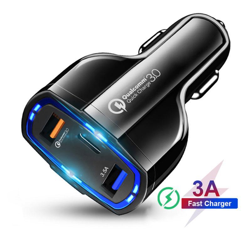 QC3.0 Автомобильное зарядное устройство 3 порта Двойной интерфейс USB и Type-C быстрая зарядка зарядка вспышки автомобильное зарядное устройство адаптер автомобильного прикуривателя интерфейс 5V9V12V