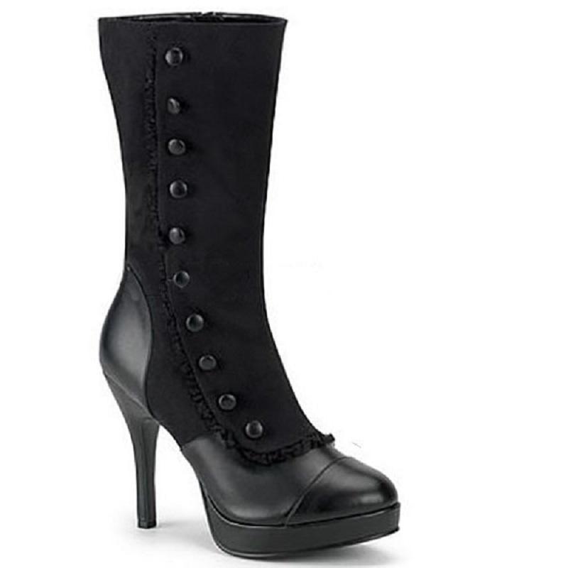 Zapatos mujer Frauen Stiefel Herbst Winter sexy High Heels Plattform gotische Mitte Wade Stiefel Mischfarben Punk westliche Damen