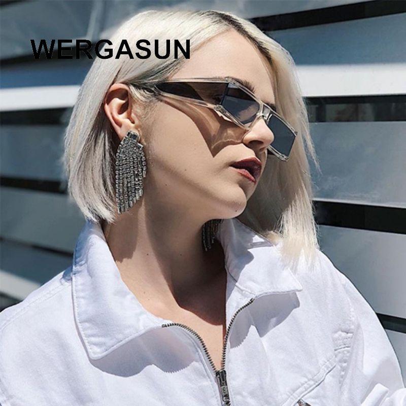 Wergasun mulheres retângulo pequenos óculos de sol claros espelho lente punk um pedaço máscaras uv400 gafas moda homens ggeia