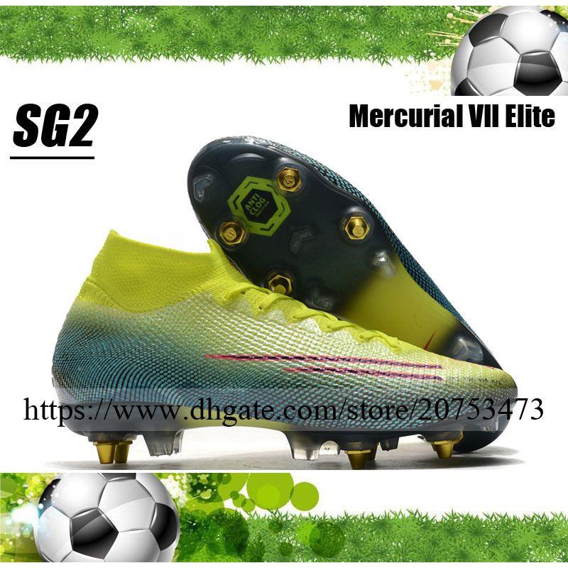 زئبقي ال superfly السابع النخبة SG المسامير أحذية الرجال لكرة القدم المرابط العليا الكاحل في الهواء الطلق CR7 رونالدو نيمار JR ACC الجوارب أحذية كرة القدم
