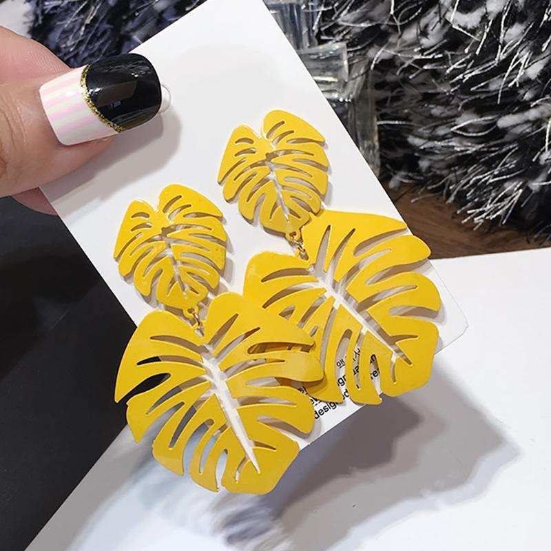 AENSOA 7 Renk Hollow Alaşım Yaprak Dangle Küpe İçin Kadınlar Altın Geometrik Metal Yapraklar Uzun Big Drop Küpeler Moda Takı