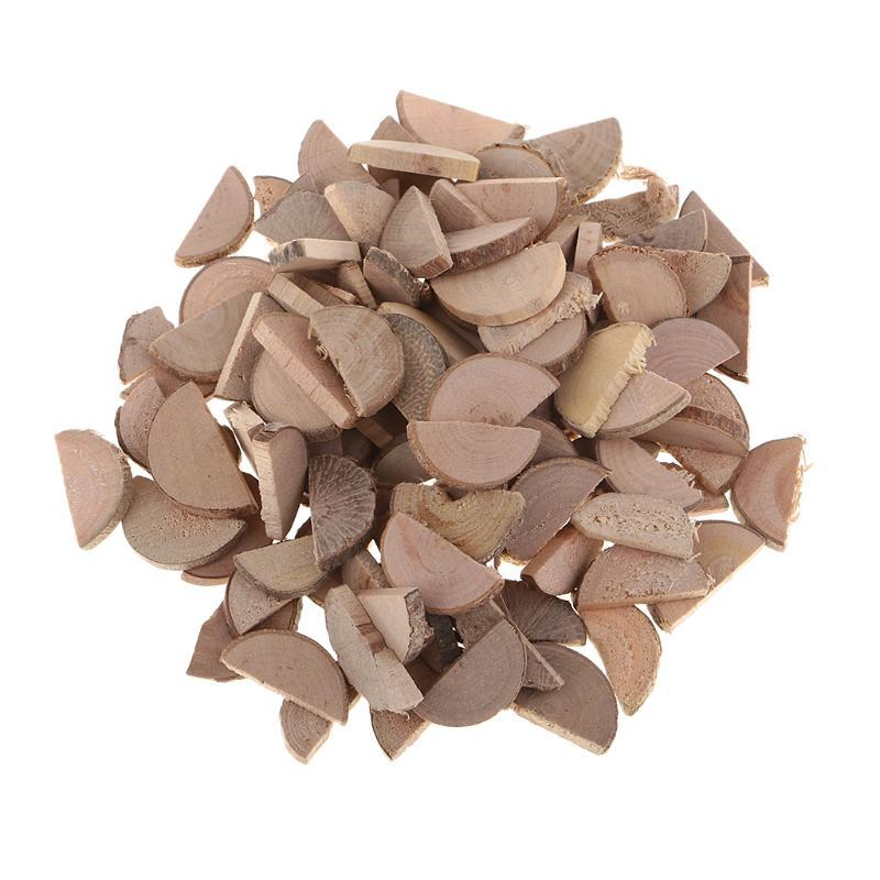 100pcs 15x2mm mini natural wood slices, wood slabs, rustic tree bark slice for country wedding decor, centerpiece, vase filler