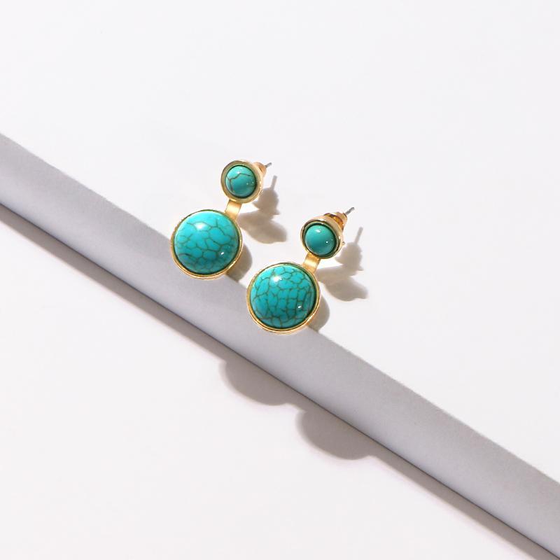 Dangle lustre Komi 1Pair Vintage Turquoise Boucles d'oreilles rondes Charme Charme Pierre Bijoux Accessoires pour femmes E40210