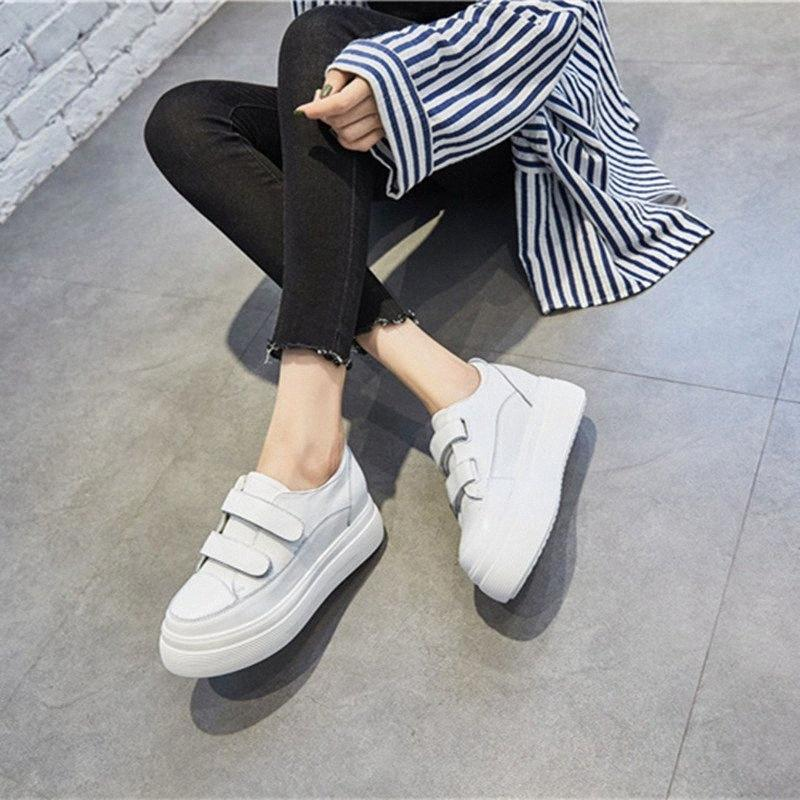 Femmes Plate-forme Sneakers 2018 Printemps Automne Dames en cuir véritable Chaussures Femmes Chaussures Plateau plat Crochet Boucle femme Sneakers XO3Z #