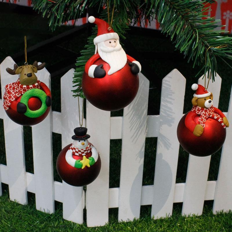 4 Pcs/Set Christmas Tree Cartoon Drop Ornaments Xmas Pendant Hanging Ball Christmas Decorations for Home