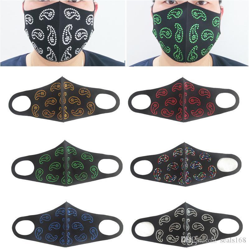 Máscara personalizada Moda Anacardo Flower Fiesta Reutilizable Discoteca Mascarillas Rhinestone Mask Polvo Face Face XD23935 Máscara KDCCE