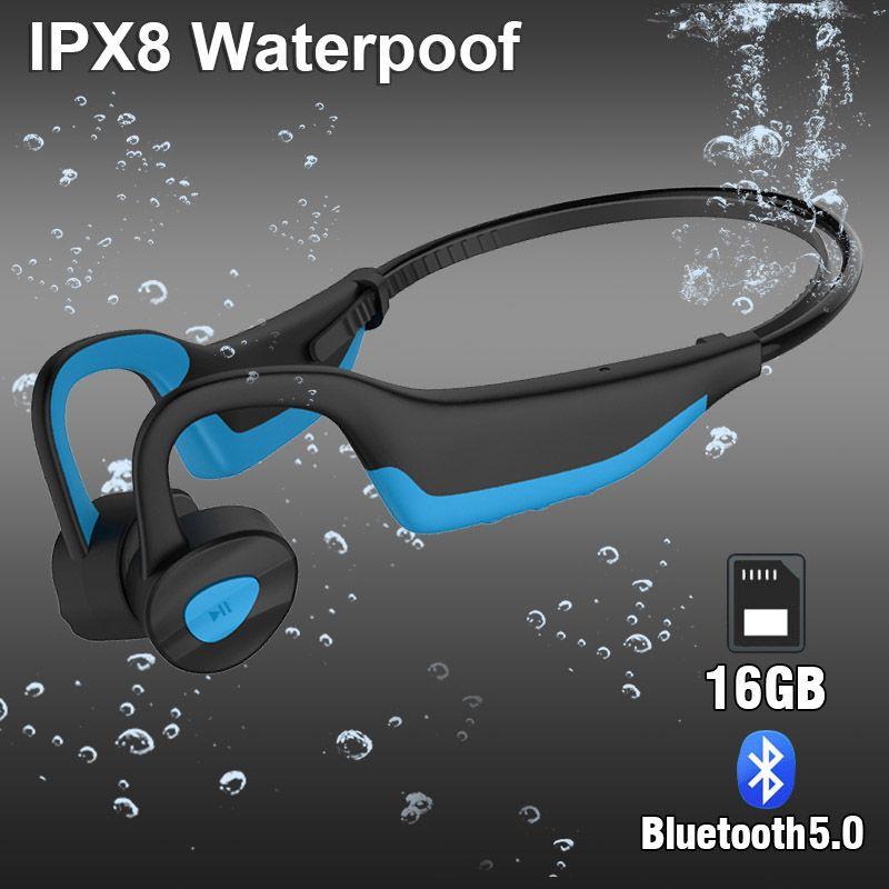 IP68 Waterproof Swimming K7 MP3 Player Bluetooth Headphones Sport Wireless Earphones Bone Conduction Headset Running Diving Earbuds Stereo