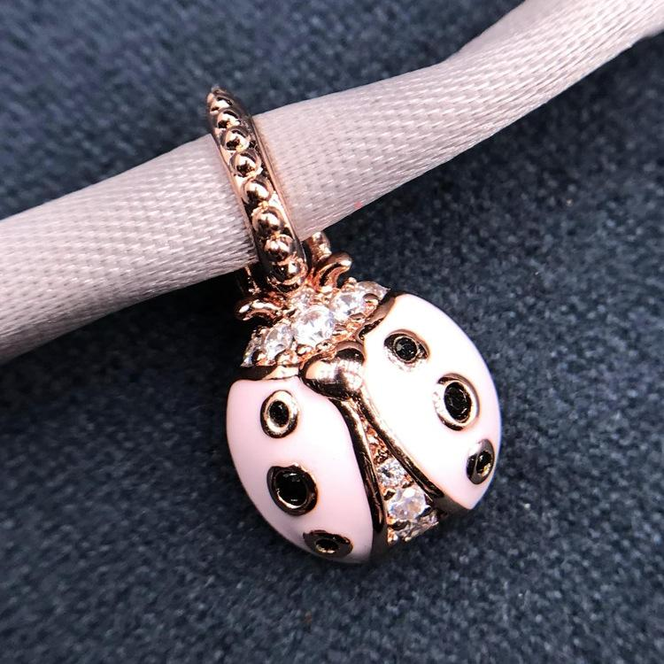 b3YDE Panjia new S925 sterling silver rose gold snowflake Diy Accessories ladybug beads DIY bracelet with beads accessories