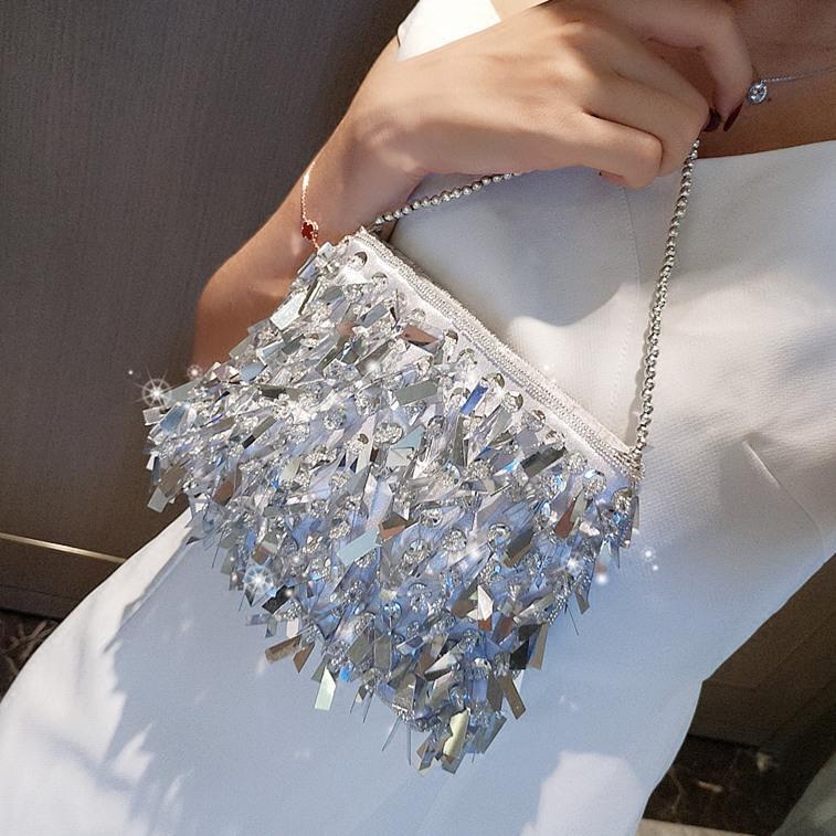 Luxurys Tasarımcılar Çanta Vintage Gümüş Paillette El Çantası Sokak Raket Ziyafet Debriyaj Çanta Gece Çantası Çapraz Vücut Küçük Ins Çanta