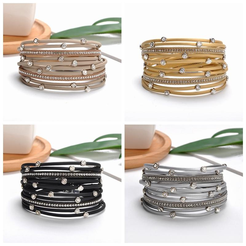 Acessórios de Moda de couro multi-camadas pulseiras wrap Pulseiras Pulseira mulheres homens unisex Bracelet Bangle Jewelry