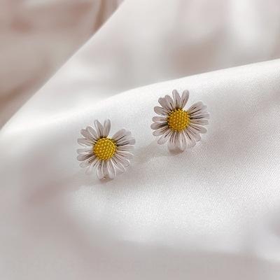 SPlvH 2020 nuevos de moda sencilla margarita de Corea del temperamento pendientes contra la alergia y las mujeres pequeñas y dulces 925 pendientes