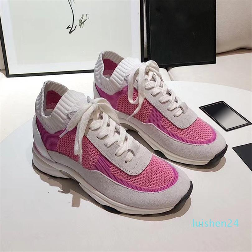 Top qualité Calfskin Formateurs femmes plate-forme tricot Chaussures de sport rouge Mesh Chaussures mode respirant à lacets en plein air Chaussures de course avec Boxl24