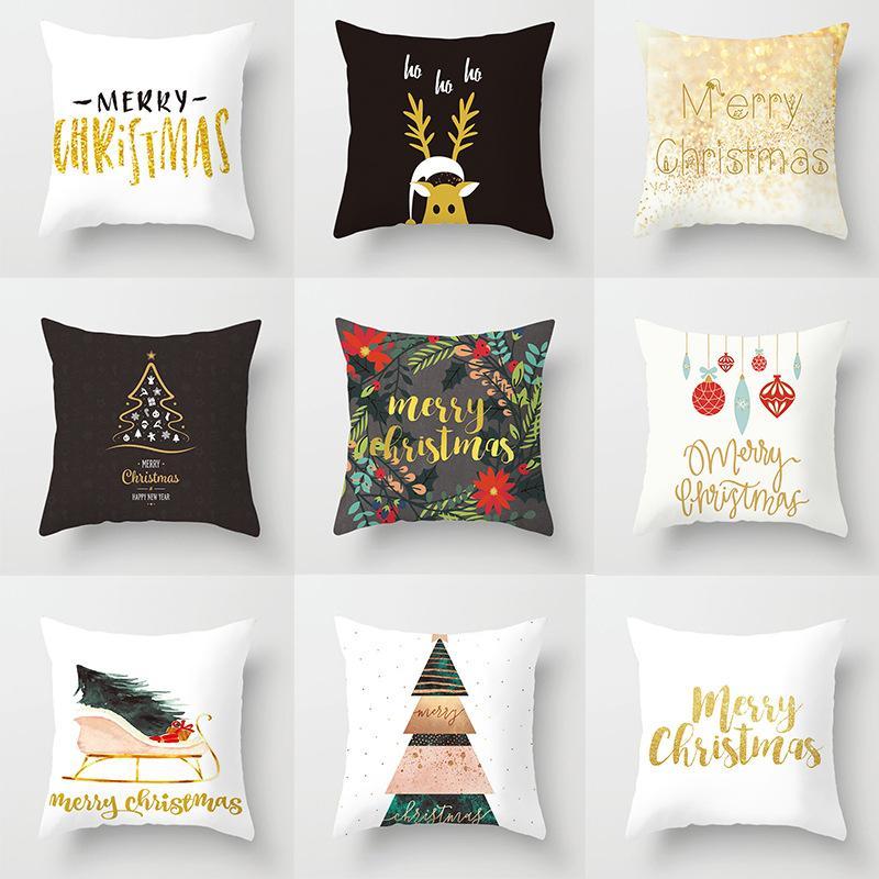 New Merry Christmas Decorative Throw Pillow Cushion Cover Polyester Home Christmas Decoration White Print Pillowcase 45*45cm