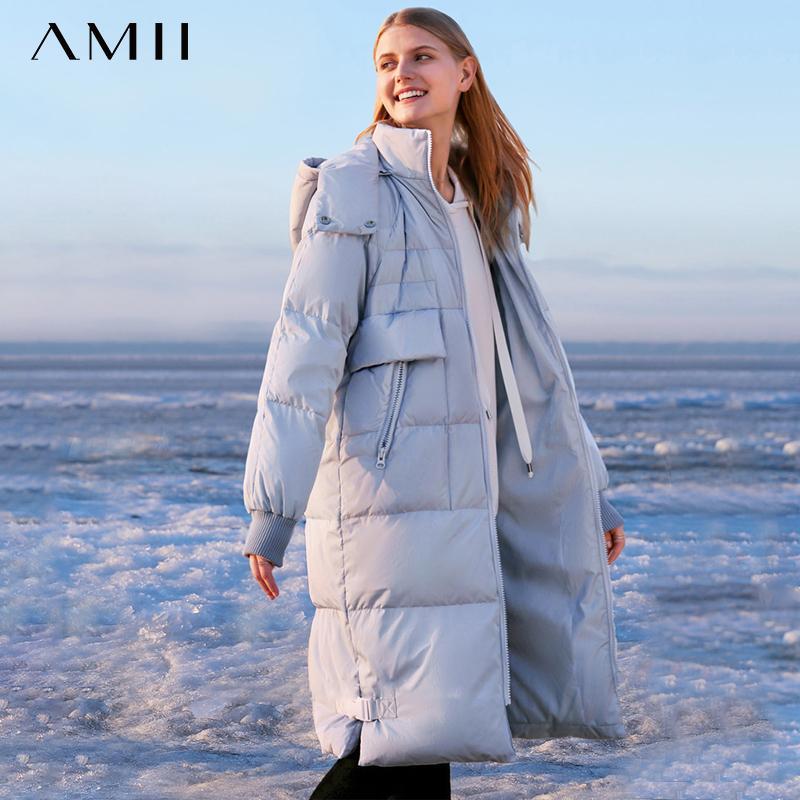 AMII Minimalism Frauen-Winter-Aufmaß starken mit Kapuze Daunenmantel Mode-verursachendes Fest 90% weiße Ente unten weiblich Daunenmantel 11830241 T200908
