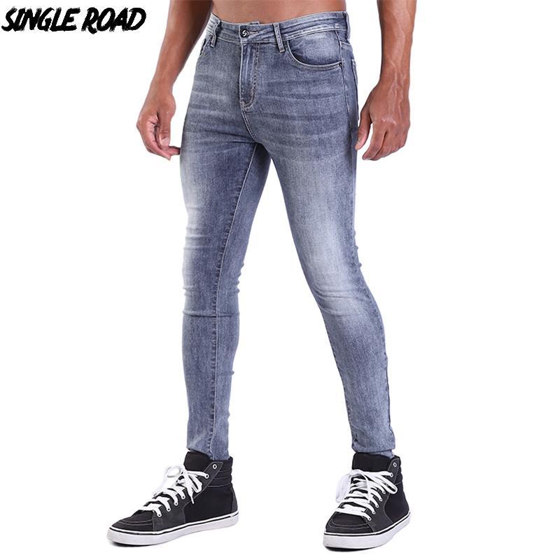2020 Singleroad Super Skinny Men 2019 Mens Grey Biker Jeans Man Streetwear Stretch Denim Pants Elastic Waist Slim Fit Brand From Jameuionse 32 5 Dhgate Com