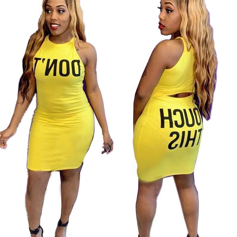 Vendita calda Abiti lettera stampata gialle Abiti Bodycon delle donne senza maniche posteriore vuota Skinny vestiti da modo del partito del randello