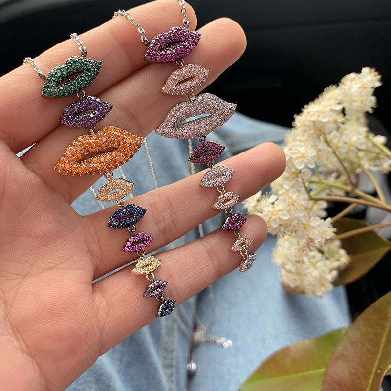 Moda creativa Diamanti Labbra Romantico Forma Collana Donne placcato oro 18K a sospensione design monili di fascino Pendenti