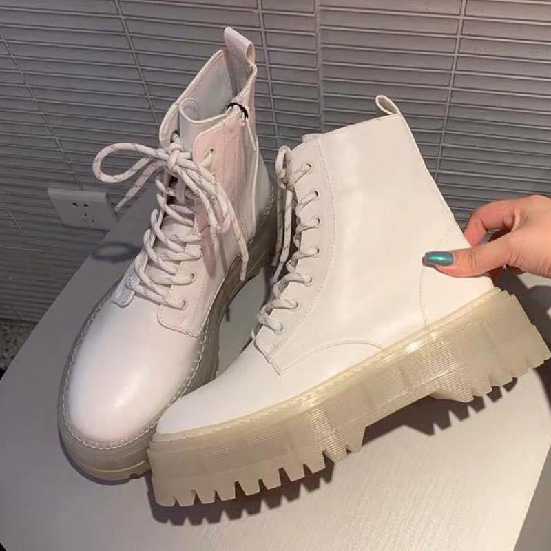 Женщины Ботильоны Платформа Сапоги Короткие Мотоцикл Botas Теплая зима обувь толстым дном Повседневная обувь Белый Обувь Botas Mujer