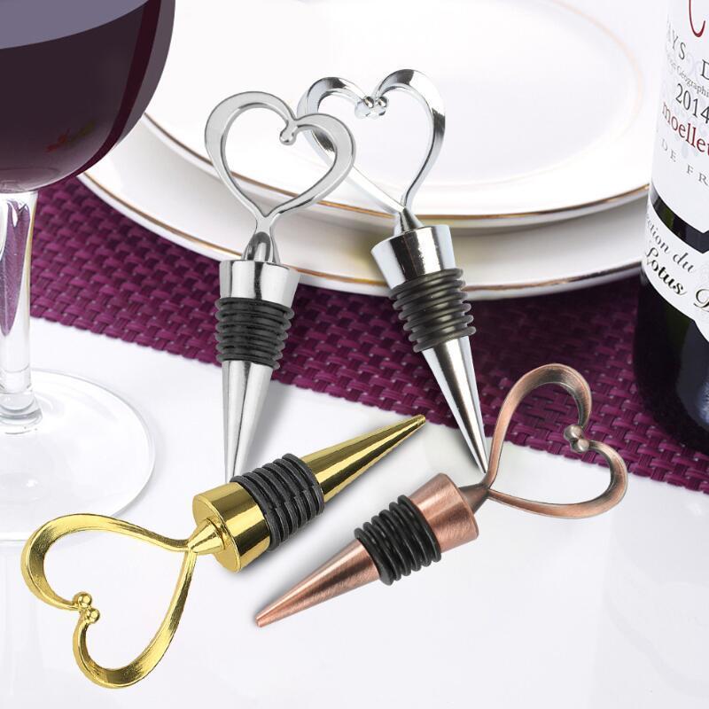 Heart Shaped Metal Wine Stopper Bottle Stopper Party Wedding Favors Gift Sealed Wine Bottle Pourer Stopper Kitchen Barware Tools LX3153