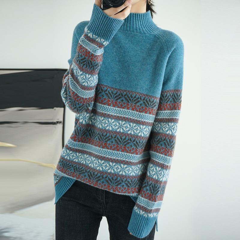Suéteres de mujeres suéter de estilo de mujer estilo medio collar jacrime europeo artístico retro jacquard camisa de tejer moda suelta cómoda