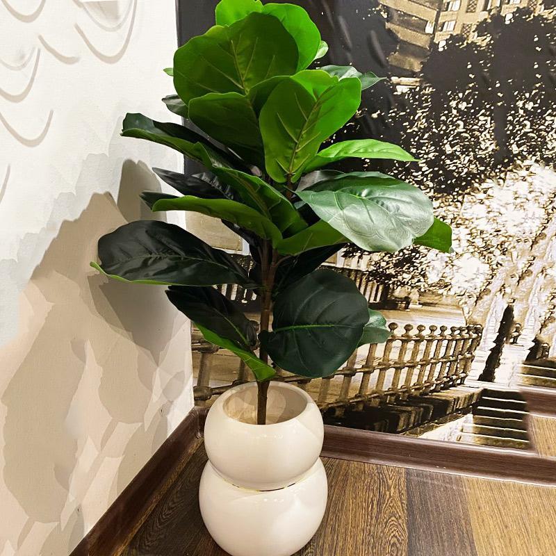 Couronnes de fleurs décoratives 122cm 65cm Grand Artificial Ficus Tree Branche Tropical Plantes faux Banyan Real Touch Feuilles pour Mariage de la maison de