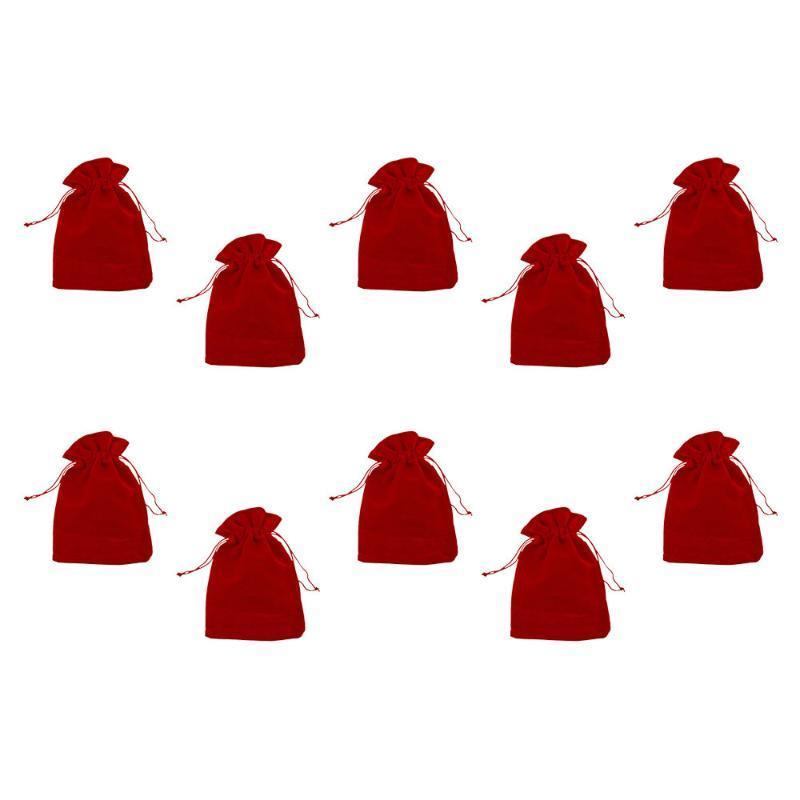 10шт красного Drawstring бархат мешок ткань ювелирная кулиска упаковка подарочных пакетов свадьба украшение
