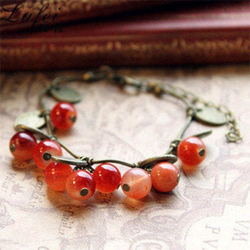 Pouco vintage do pimentão pequeno doce de cereja belas jóias pulseira bracelete frisado Mulheres moda presente da jóia por atacado