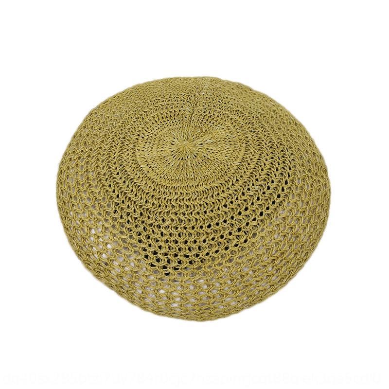 7C1mV Kore tarzı tarzı basit bere kadın yaz nefes oyuk-out ressam saman Kabak hasır şapka İngiliz kabak şapka moda ins
