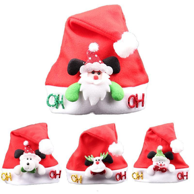 Xmas 1pcs Child Hat for Santa Kids Claus Deer Smowman Warm Cap New Year Christmas Party Hats Decoration Yvsr