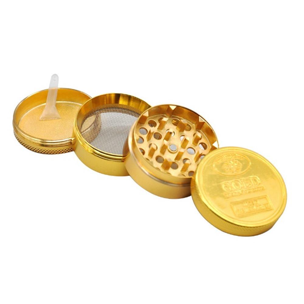 Molinillo de moneda de oro Aleación de zinc 40 mm 50 mm 4 capas Milla de metal Molinillo con dientes de diamante Tabaco Miller Spice Triturador Venta al por mayor