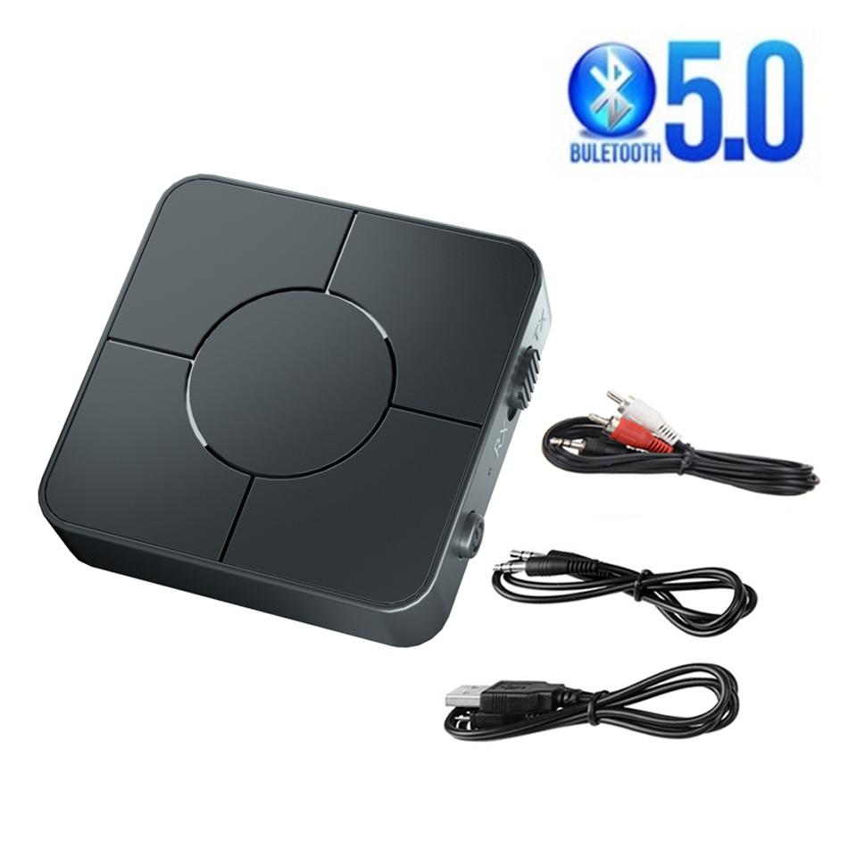 Upgraded Bluetooth 5.0 Audio Receiver Transmitter 3.5mm AUX Jack RCA USB Dongle Stereo Wireless Adapter with Mic Handsfree KN326