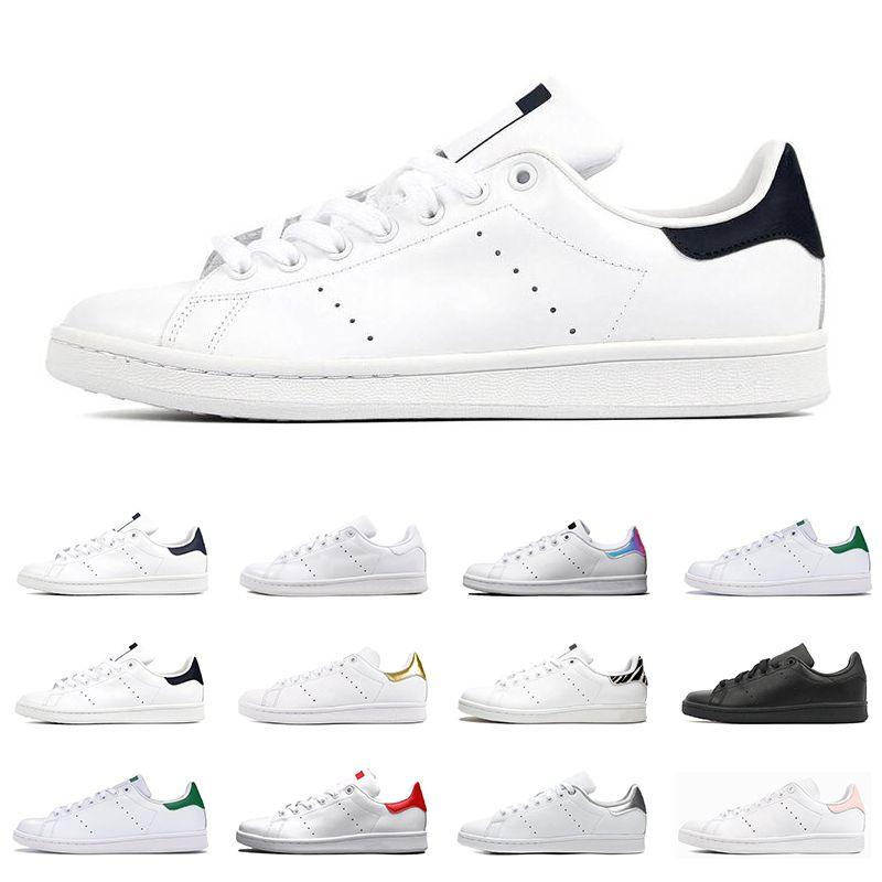 2020 Erkek Ayakkabı Smith Erkekler Kadınlar Düz Sneakers Yeşil Siyah Beyaz Lacivert Oreo Gökkuşağı Stan Moda Erkek Trainer Açık Spor Ayakkabı
