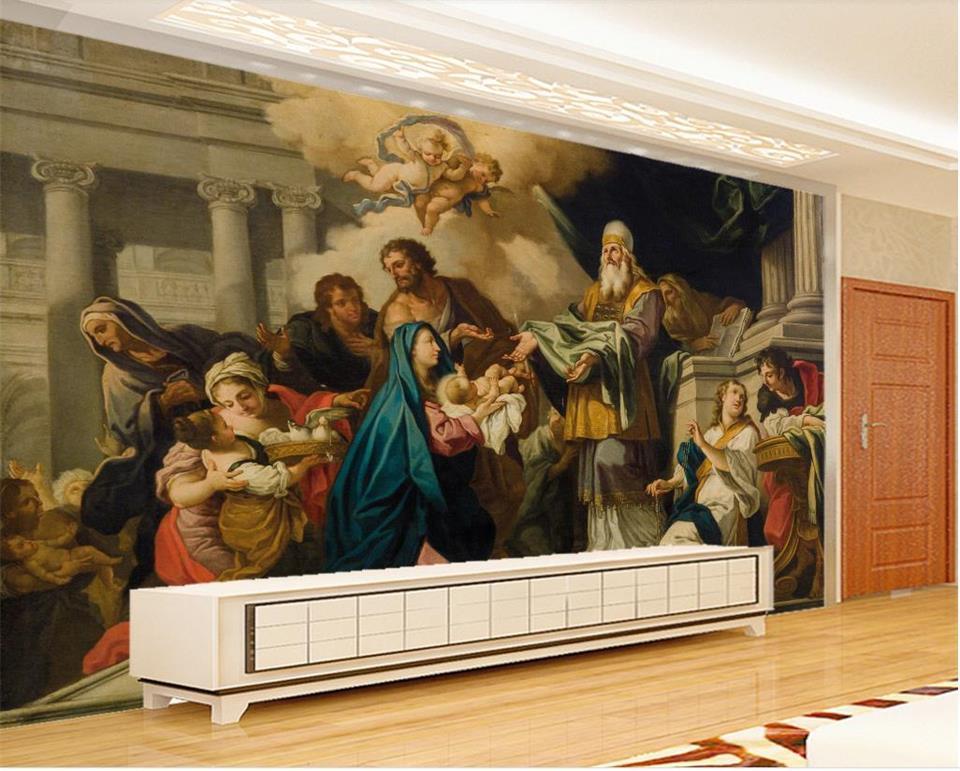 As figuras de tamanho personalizado 3D Photo Wallpaper Sala Mural Bíblico pintura a óleo Fundo Mural Home Decor Creative Hotel Estudo Wallpaper 3D