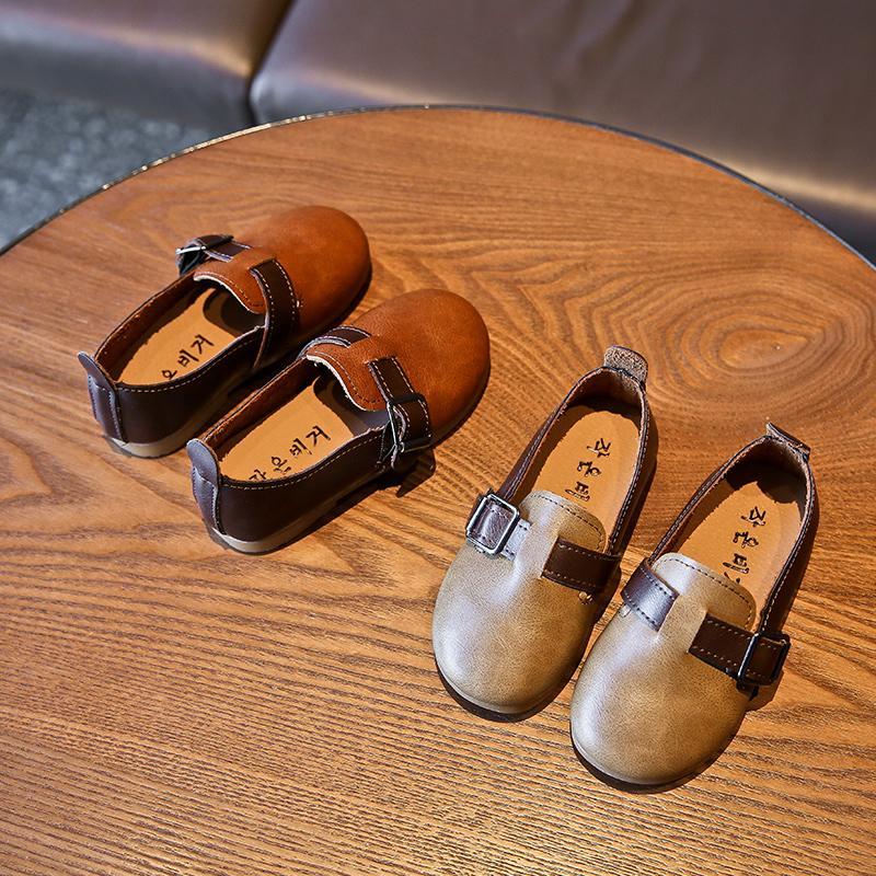 Scarpe ragazze di cuoio di autunno nuovi capretti delle scarpe da tennis principessa Shoes Retro Fashion bambini neonata Superficie Immobile 26-36 SH072