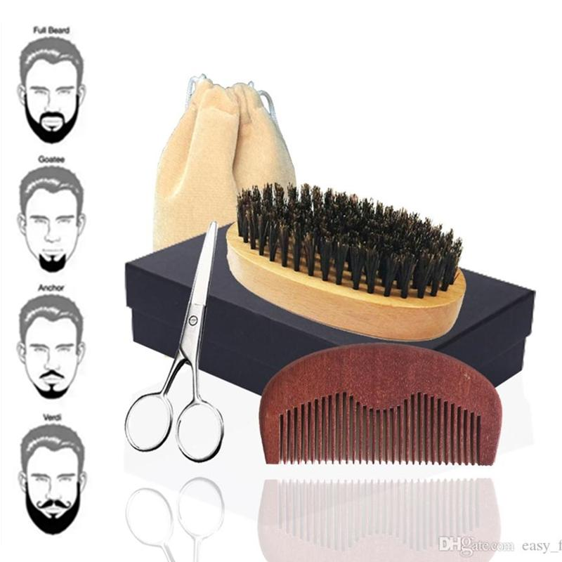 New 5in1 Boar Bristle Palm Beard Brush, Wood Comb & Mustache Scissor Box Set Bearded Man Facial Makeup Hair Care Styling Grooming Trimming